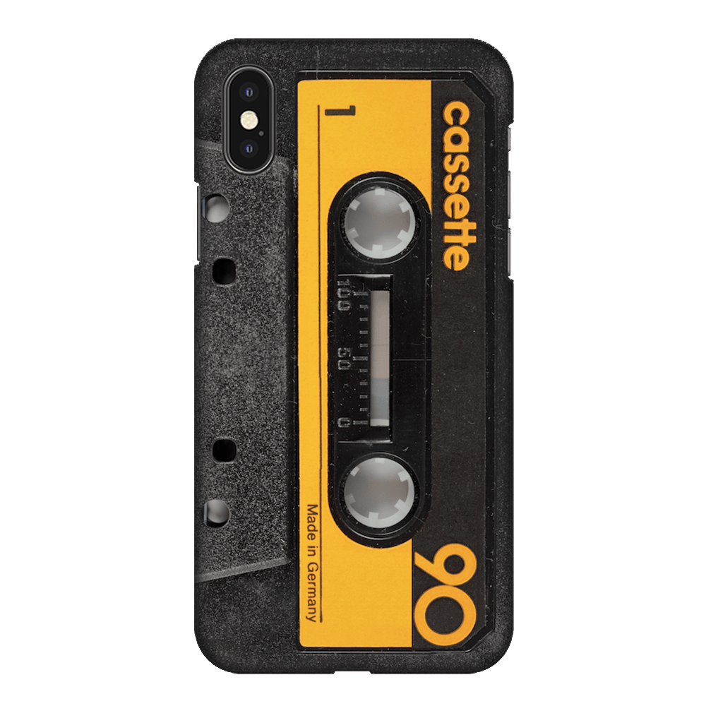 Retro Music Yellow Cassette Tape Case Cover - iPhone XS Max