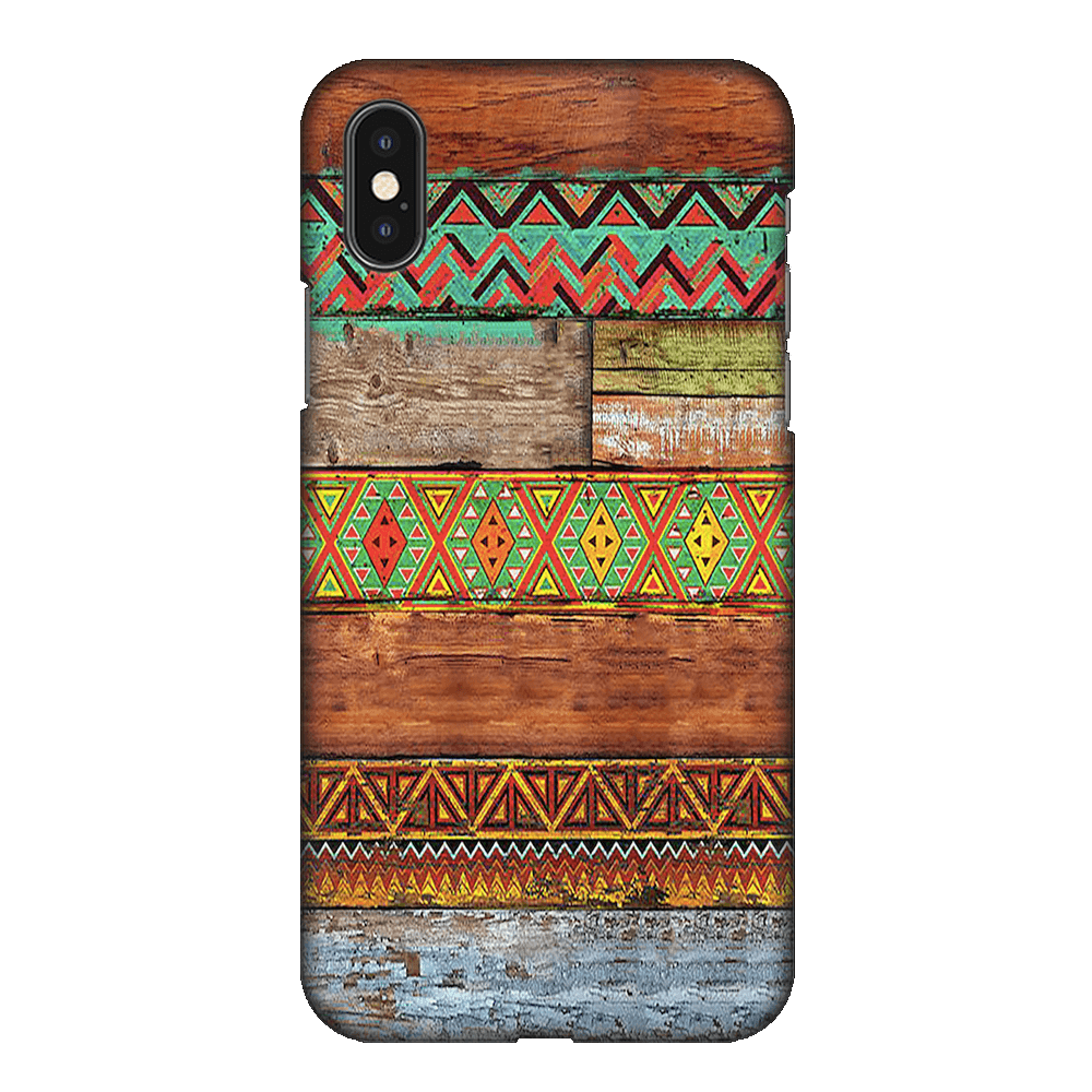 Wooden Horizontal Multicolored Texture Case Cover - iPhone XS