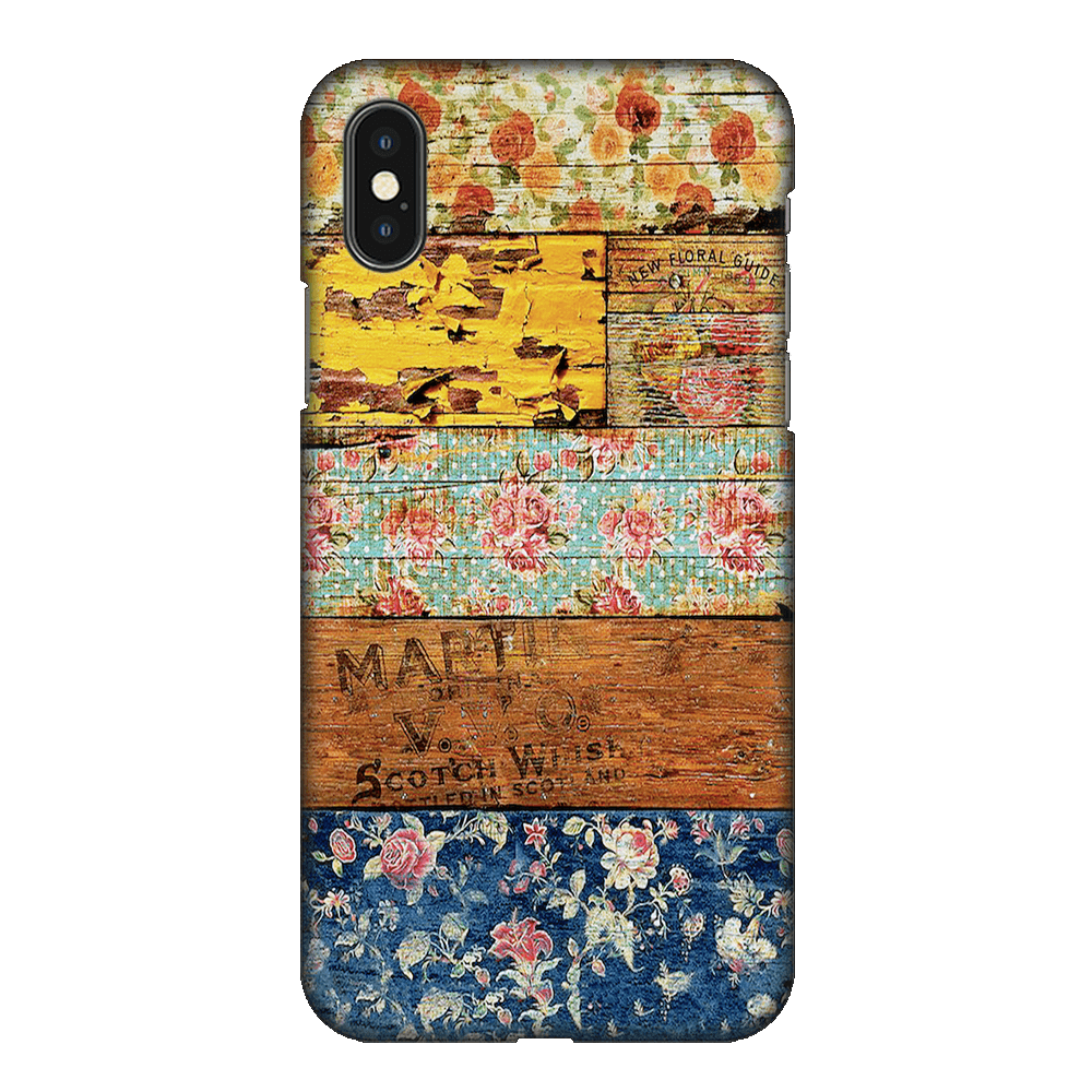 Wooden Worn Patterned Case Cover - iPhone XS