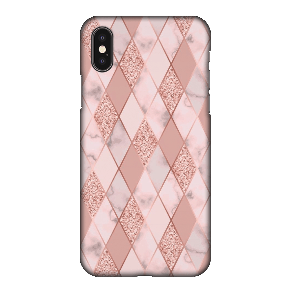 Geometric Pink Diamond Pattern Case Cover - iPhone XS Max
