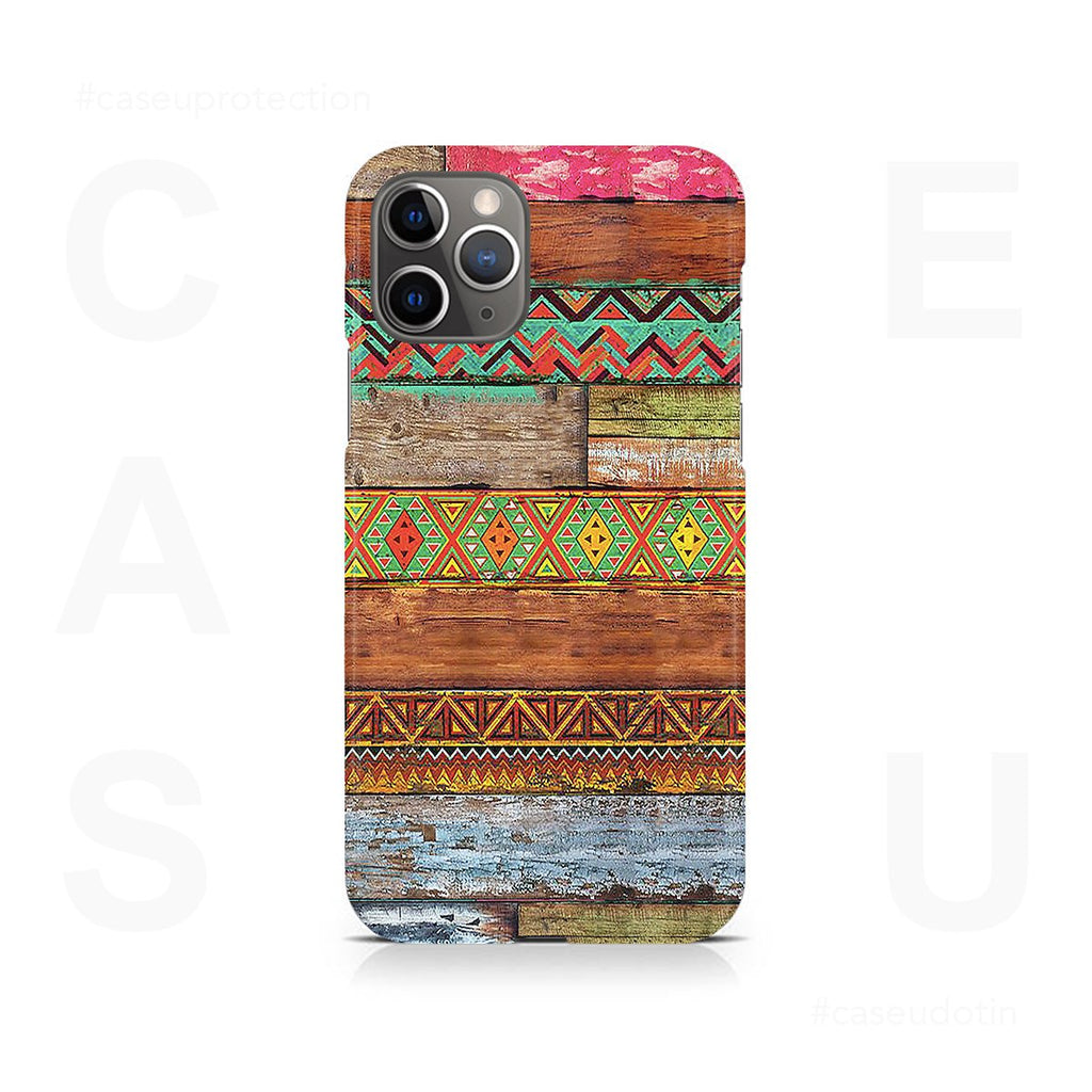 Wooden Horizontal Multicolored Texture Case Cover - iPhone 11 Pro Max