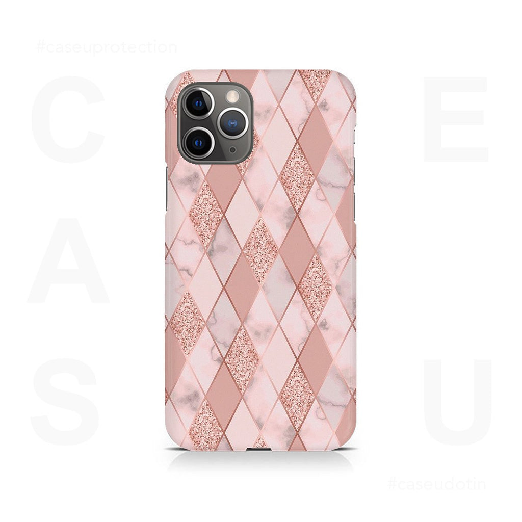 Geometric Pink Diamond Pattern Case Cover - iPhone 11 Pro Max