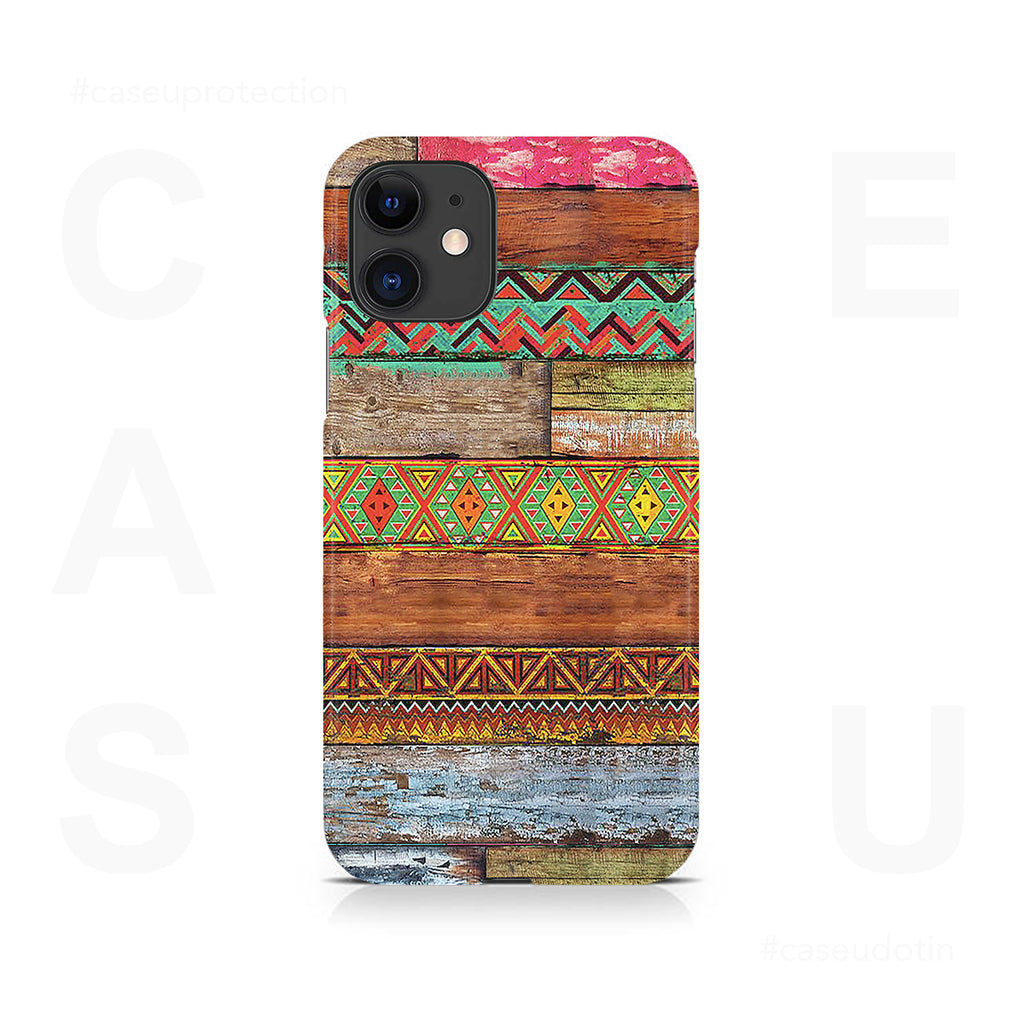 Wooden Horizontal Multicolored Texture Case Cover - iPhone 11