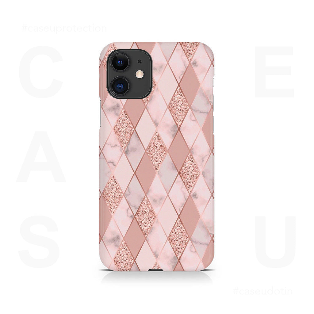 Geometric Pink Diamond Pattern Case Cover - iPhone 11