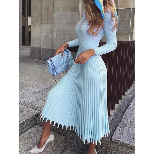 Mid-Calf Pleated Standard-Waist Plain Evening Dresses