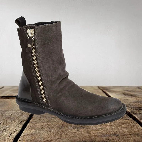 Fashion Zipper Flat Solid Ankle Boots