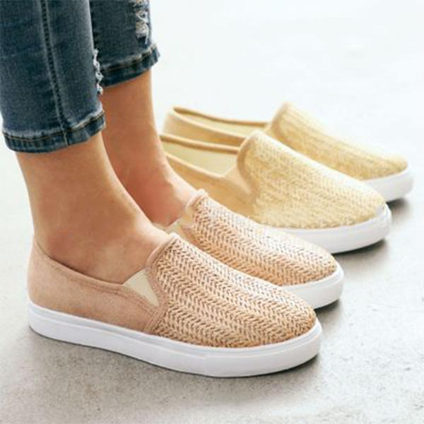 Casual Woven Canvas Slip-On Flats