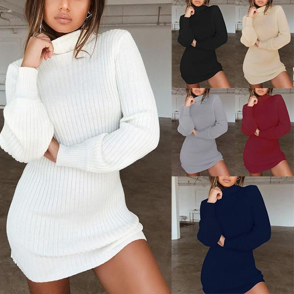 Women's Long Sleeve Turtleneck Bodycon Solid Knitted Dress