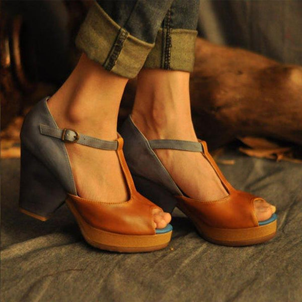 Open Toe T-shaped Buckle Vintage Sandals