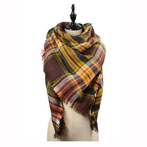 Women Fringe Hem Plaid Print Stylish Scarf Shawl Wrap