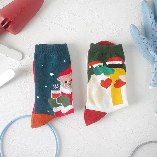 Men Women Fashion Santa Claus Cartoon Mid Tube Socks