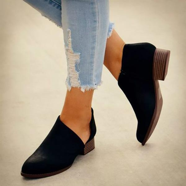Casual Slip-On Middle Heel Ladies Boots