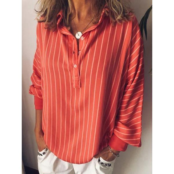 Casual Long Sleeve Tops Plus Size Stripes V Neck Blouses