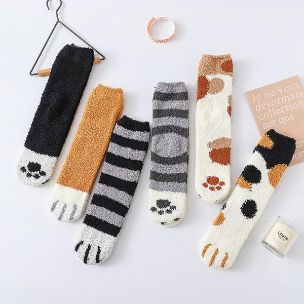 Winter Color Cute Cat Claws Home Socks
