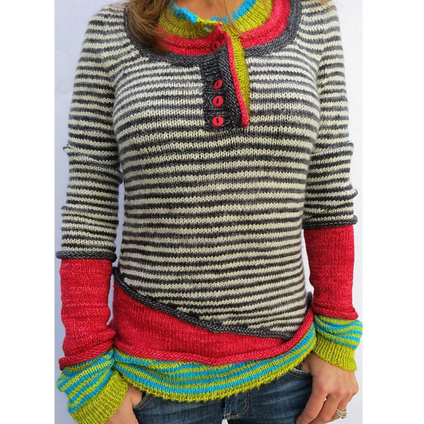 Long Sleeve Striped Paneled Sweater