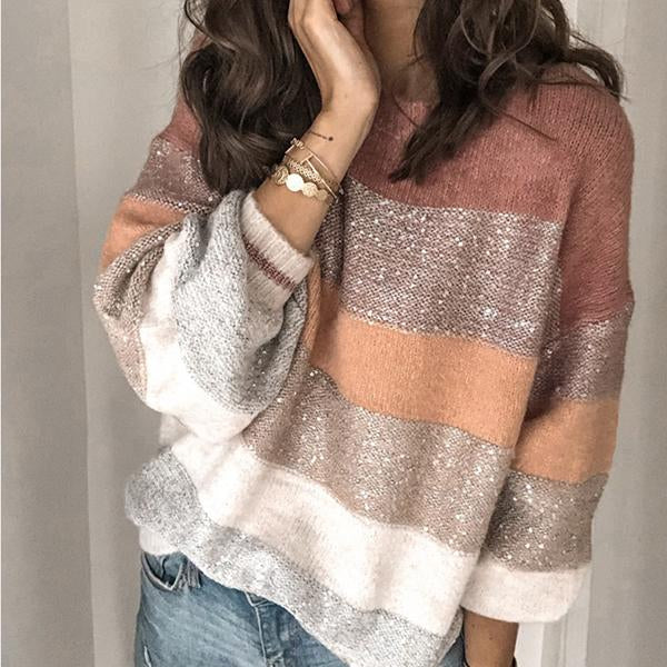 Casual Loose Round Neck Multicolor Sweater