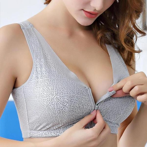Full Cup Front Closure Zipper Fly Sports Wireless Bras