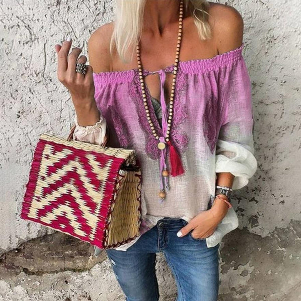 Summer Bohemian Tops Color-block Off Shoulder Blouse