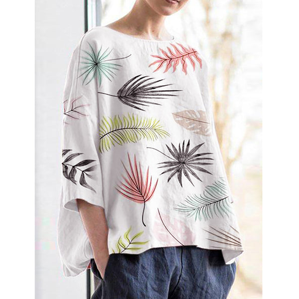Bohemian Print 3/4 Sleeve Loose Plus Size Blouse