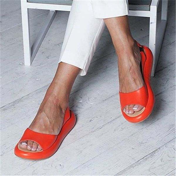 Large Size Women Solid Color Peep Toe Slip On Flat Sandals
