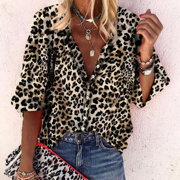 Long Sleeve Leopard Printed Casual Blouses