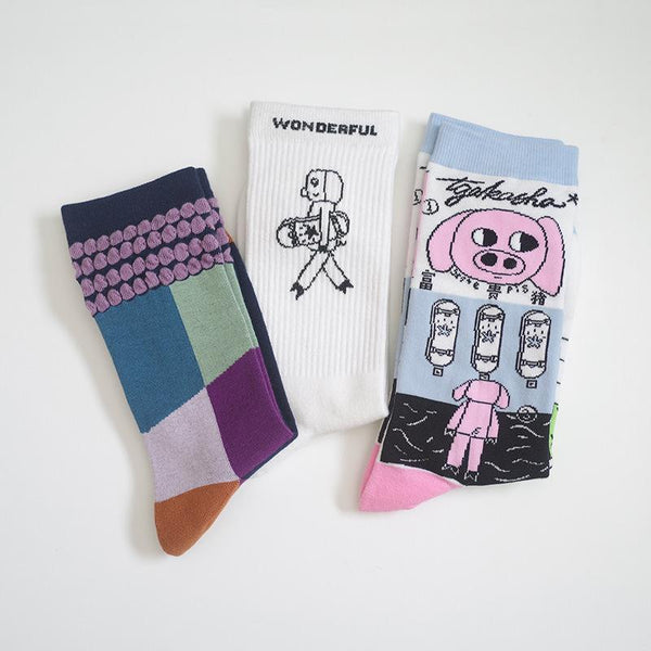 Men Women Cartoon Printing Socks Personalized Novelty Pattern Asymmetric Cute Socks