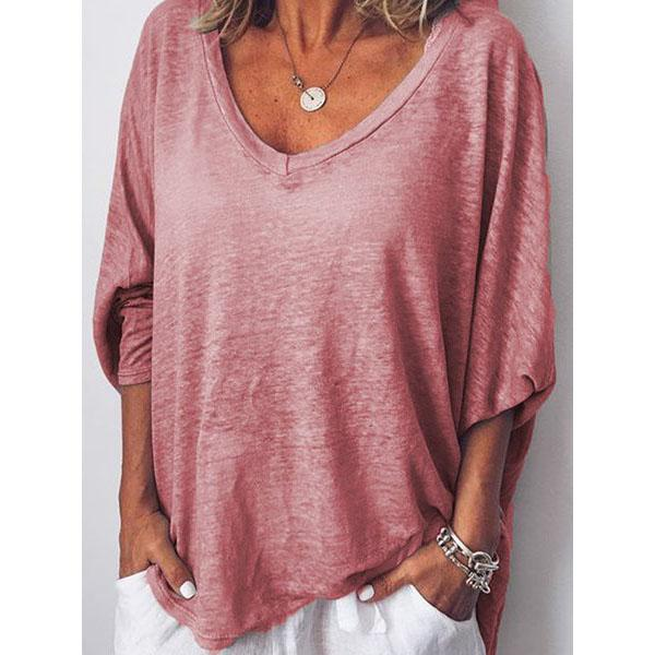 Long Batwing Sleeve Tops Casual V Neck Blouses