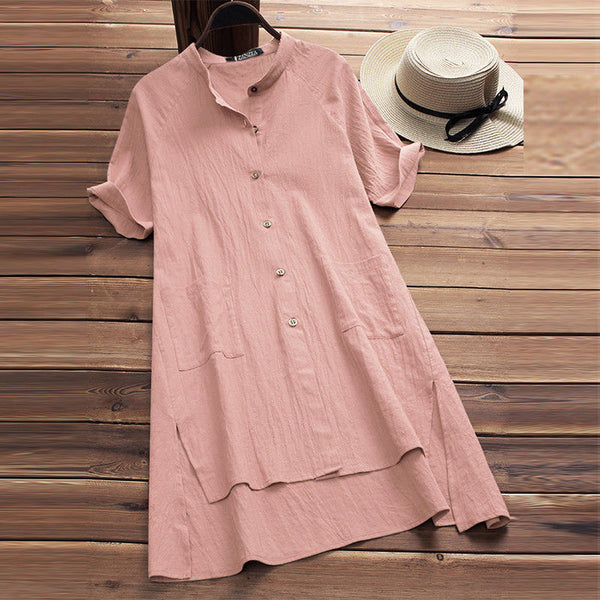 Women Solid Casual Ladies Sleeve Pocket Cotton Dress