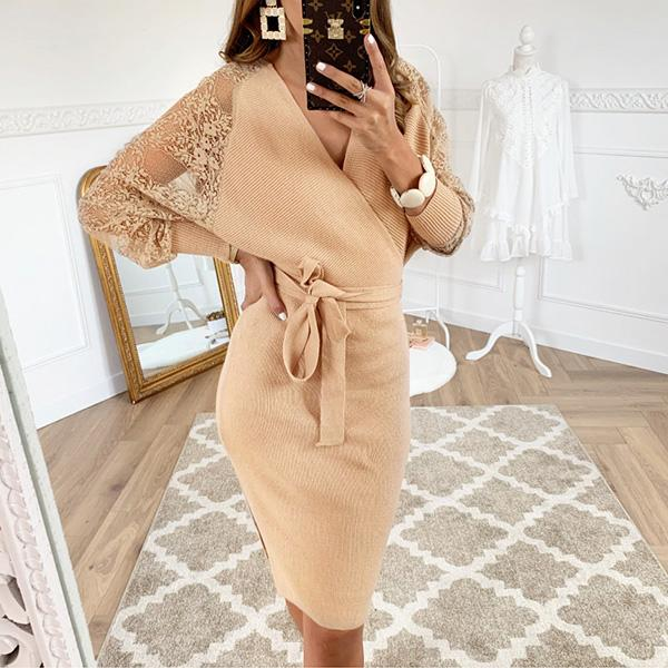 Women's Casual Daily Basic Bodycon Knitted Dress