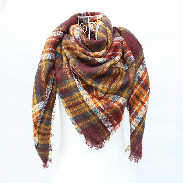 Women Autumn Winter Plaid Scarf Warm Soft Shawls