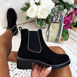 Leopard Print Studded Chelsea Boots