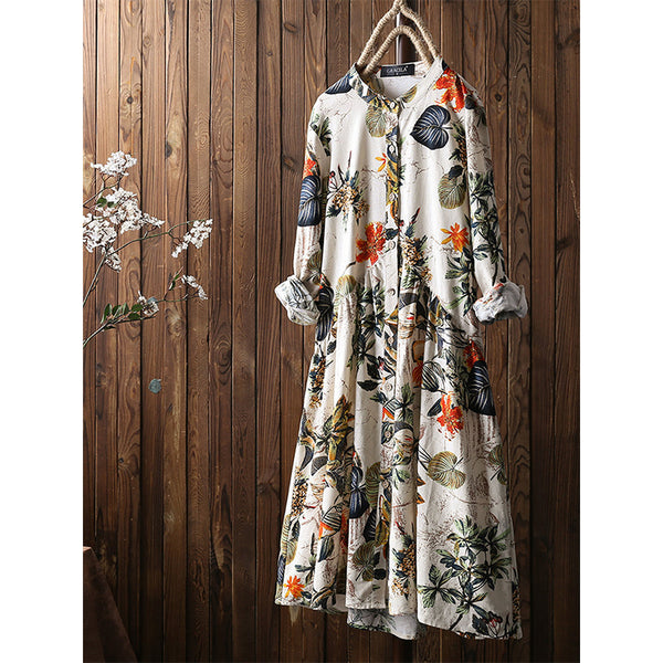 Leaves Floral Print Pleated Long Sleeve Vintage Dress