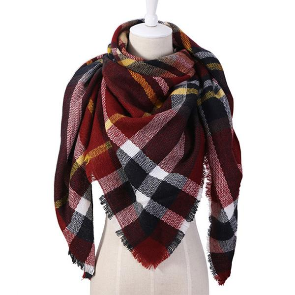Women Plaid Fashion Autumn Winter Triangular Scarves Shawls