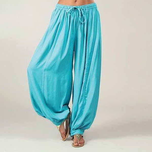 Loose Elastic Band Wide Leg Solid Pants