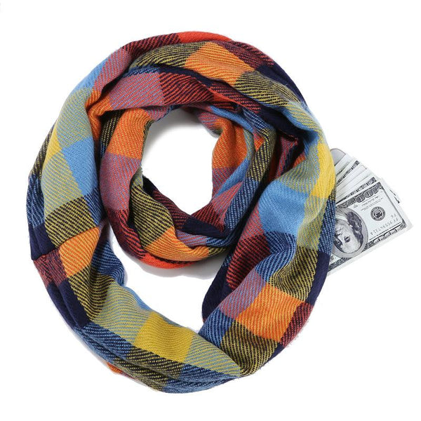 Casual Warm Fashion Plaid Hidden Zipper Pocket Scarves