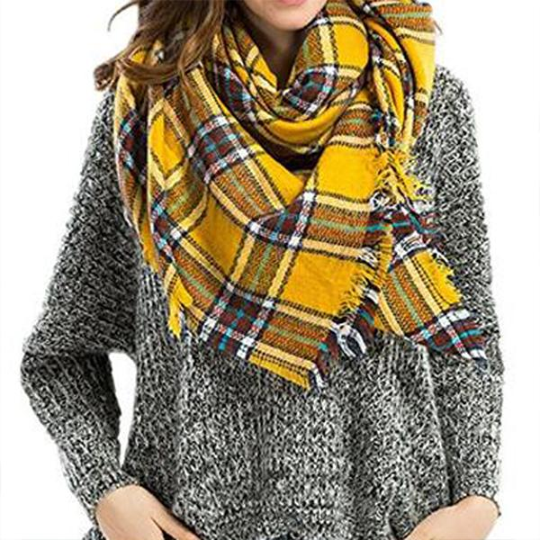 Women Fashion Plaid Blanket Square Tartan Scarf Shawl Wrap