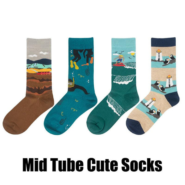 Men Women Cotton Cute Cartoon Socks Mid Tube Socks