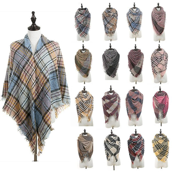Fashion Women Plaid Scarves Lady Grid Tassel Oversized Shawl