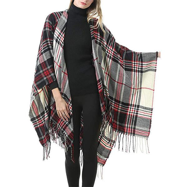 Women Fashion Pashmina Plaid Tassel Scarf Autumn Winter Shawls