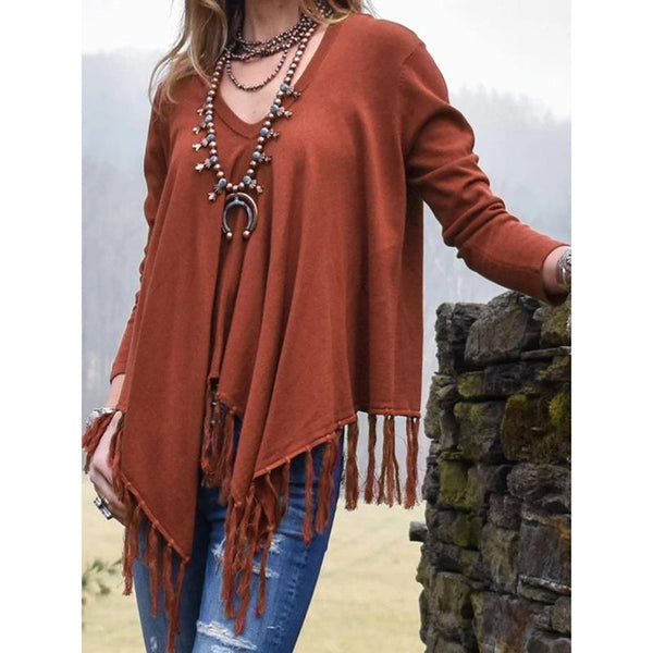 Fringed V-Neck Casual Shirts Blouses