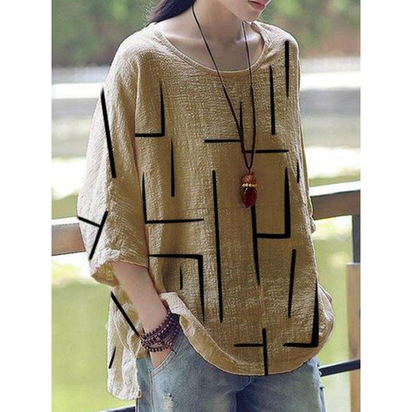 Women Round Neck Tops Loose Fitting Printed Shirt