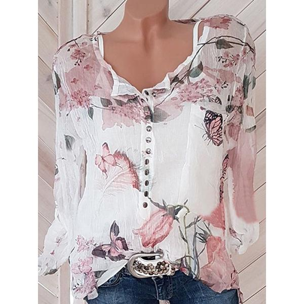Women Floral Printed Tops Long Sleeve Summer Blouses