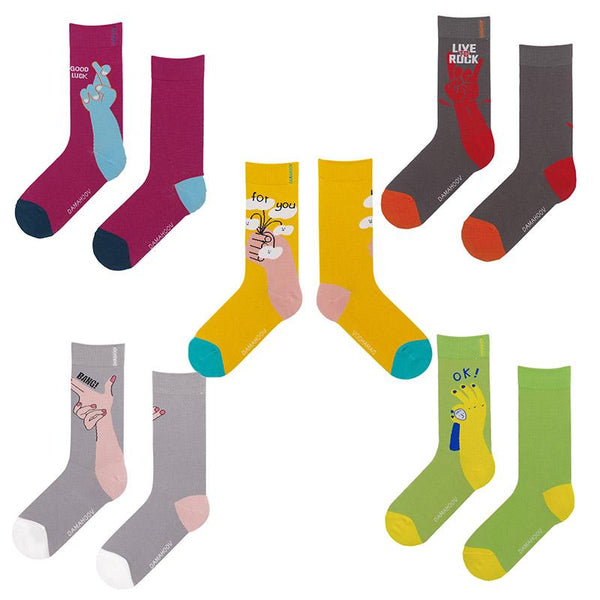 Men Women Cartoon Patterned Ankle Cotton Socks Creative Gesture Pattern Socks