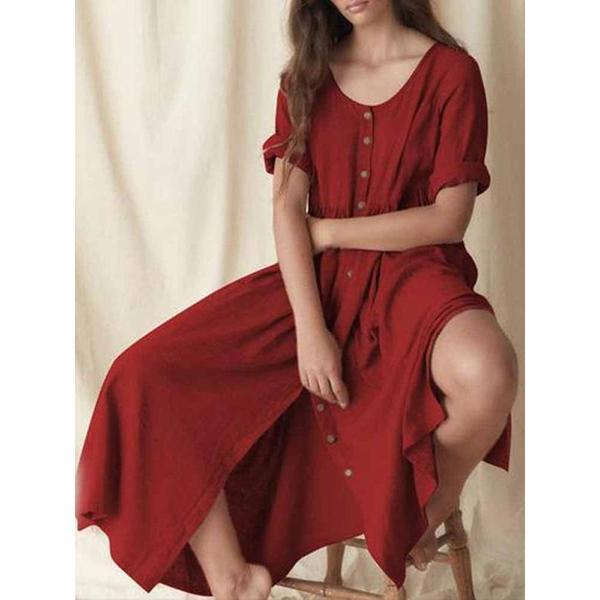 Split Plain Casual Short Sleeve Ankle-Length Dress