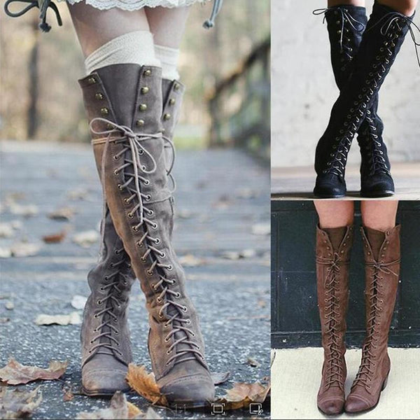 Fashion Flat Rivet Knee High Boots