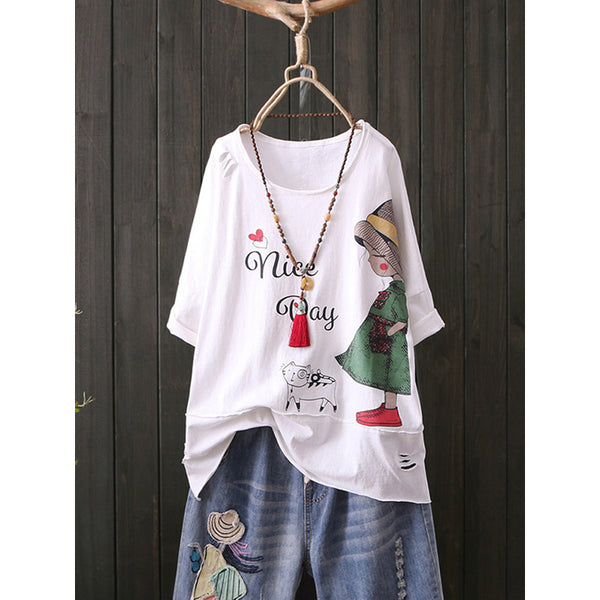 Print Cartoon Cute Girl Crew Neck Short Sleeve Casual T-Shirt
