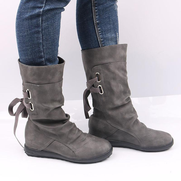 Women Belt Buckle Fashion Mid-Calf Boots