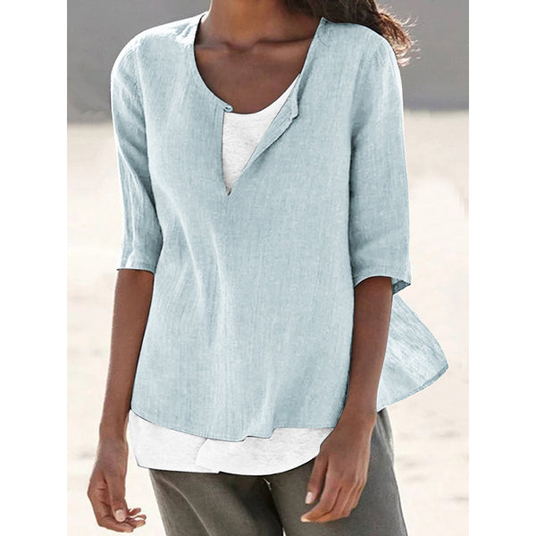 Solid Color Half Sleeve Casual Blouse For Women