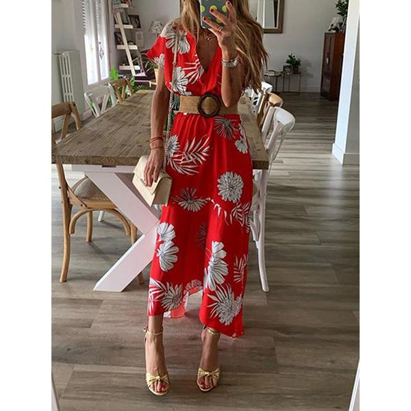 Floral Printed V Neck Bohemian Dress