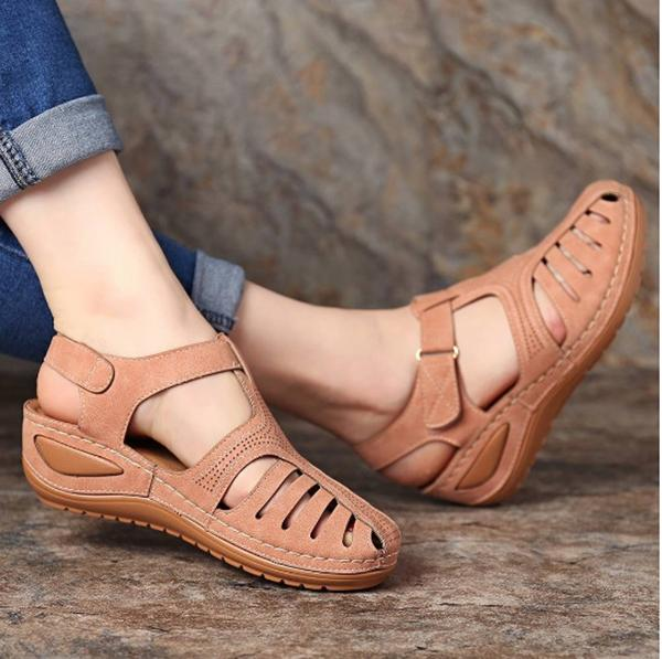 Hollow Out Pure Color Vintage Breathable  Wedges Sandals